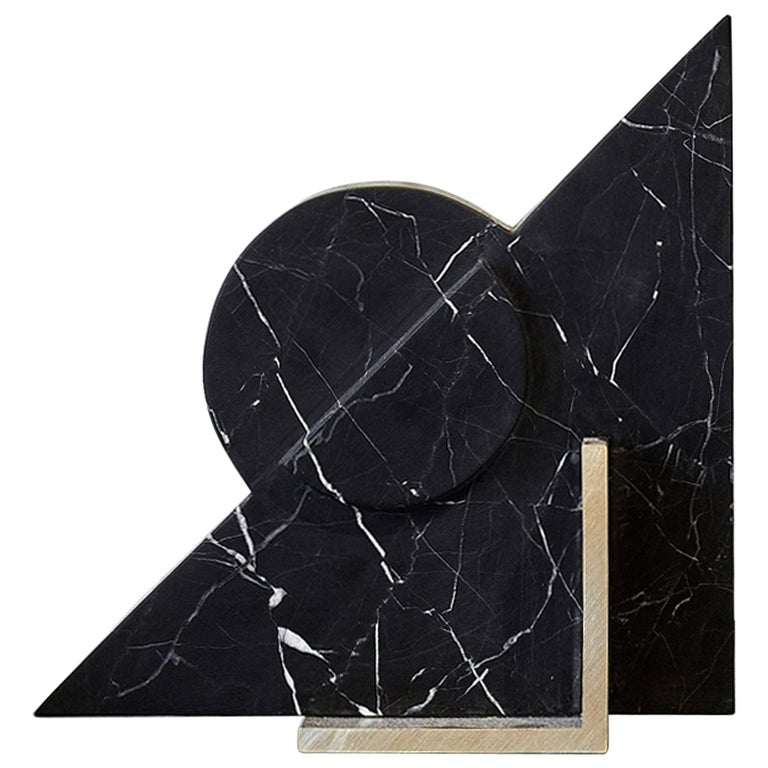 Hemi Bookend in Black Marble For Sale
