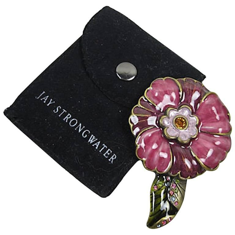 Jay Strongwater Floral Enameled & Swarovski Crystal Purse Mirror & Keeper Pouch