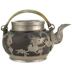 Chinese Antique Earthenware and Pewter Teapot