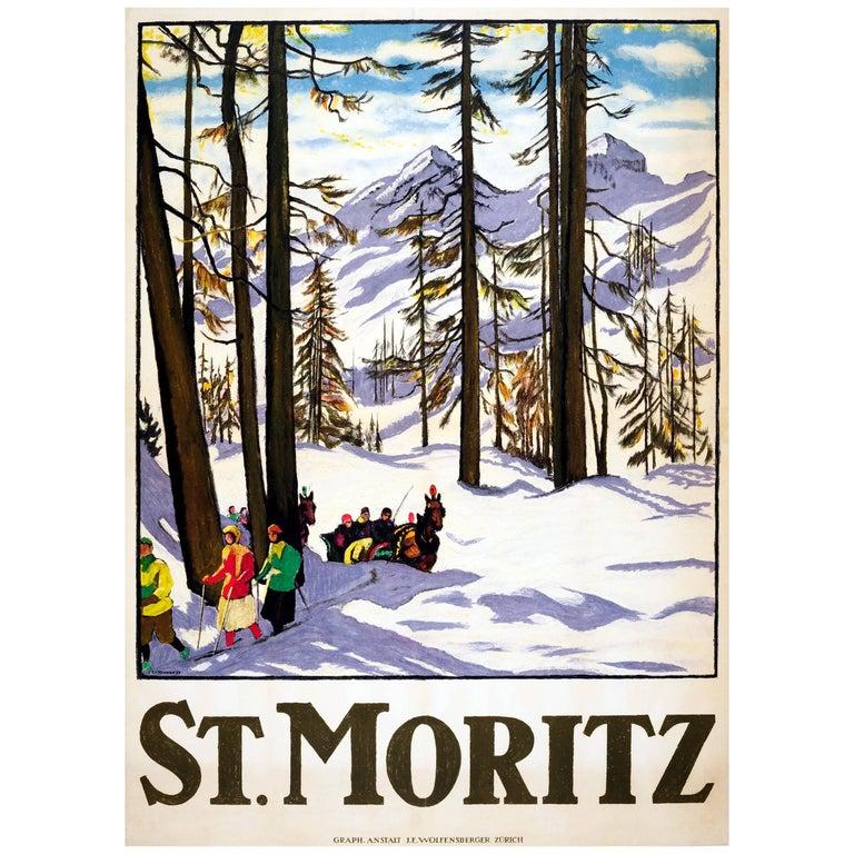 Rare Original Antique Winter Sport Ski Travel Poster for St. Moritz Switzerland