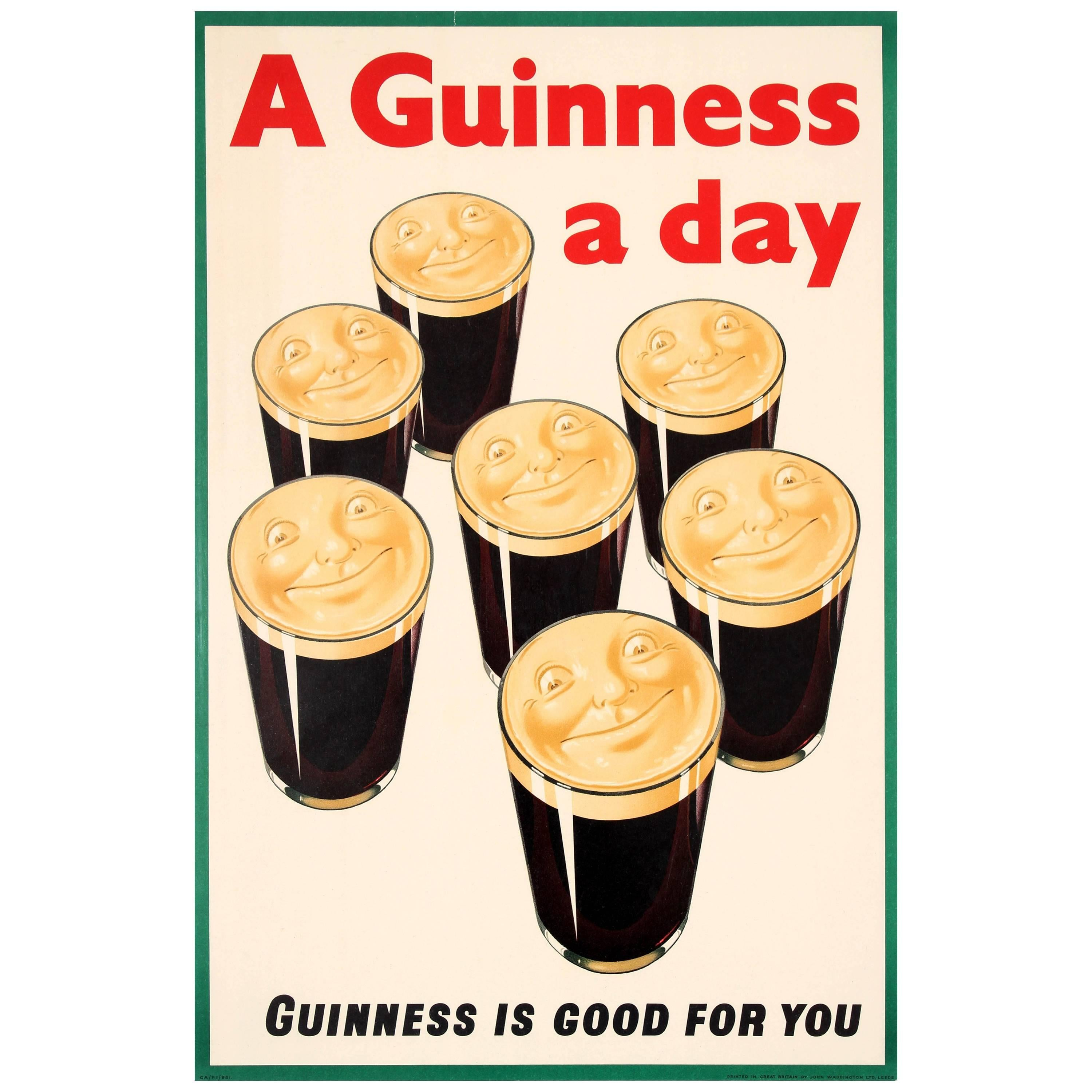 Original Vintage Iconic Drink Poster - A Guinness A Day Guinness Is ...