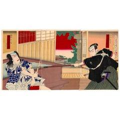 Kunichika Toyohara, Kabuki Theatre, Actors, Japanese Woodblock Print, Triptych