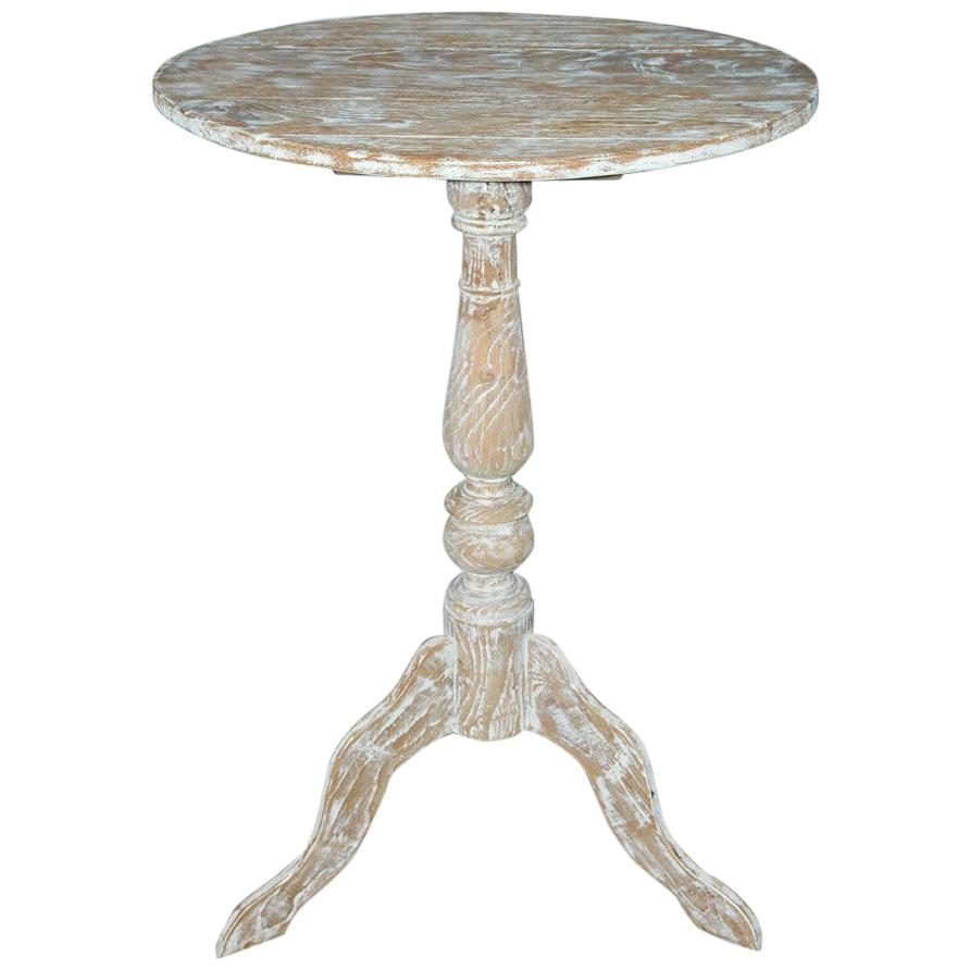 Superbe Gustavian Style White Washed Pedestal Side Table For Sale