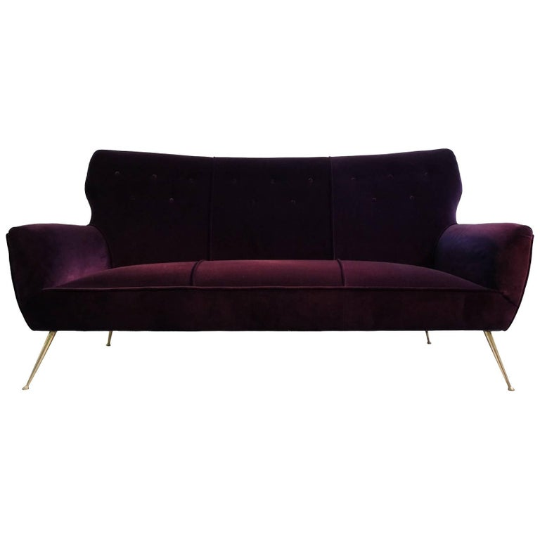 Italian Three-Seat Aubergine Velvet Sofa with Brass Feet, 1950s