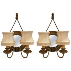 Pair of Mirrored and Giltwood Sconces