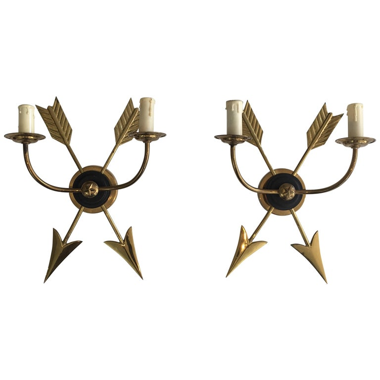 Pair of Neoclassical Style Brass Arrow Sconces