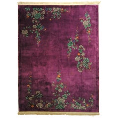 20th Century 1920-1940 Nichols Art Deco Chinese Rug Hand-Knotted Wool Violet