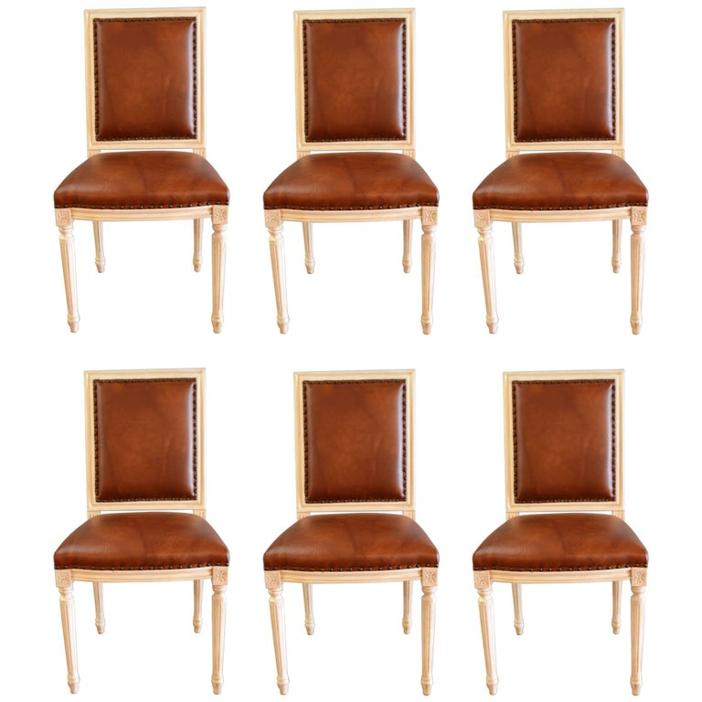 Set of Six Louis XVI Style Painted Dining Chairs Upholstered in Faux Leather