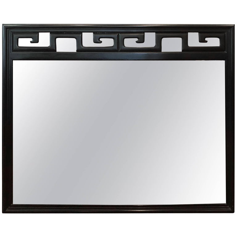 Black Hollywood Regency Mirror in the Style of James Mont