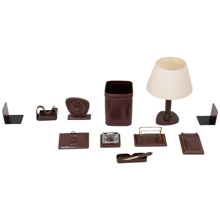 Stitched Leather Desk Set, France, 1960s
