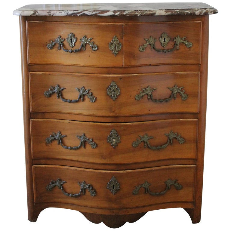 19th Century French Walnut Five-Drawer Chest with Marble Top