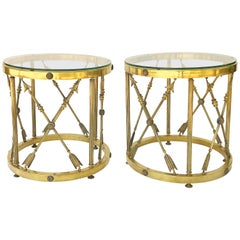 Pair of English Round Occasional Tables of Brass and Glass 'Individually Priced'