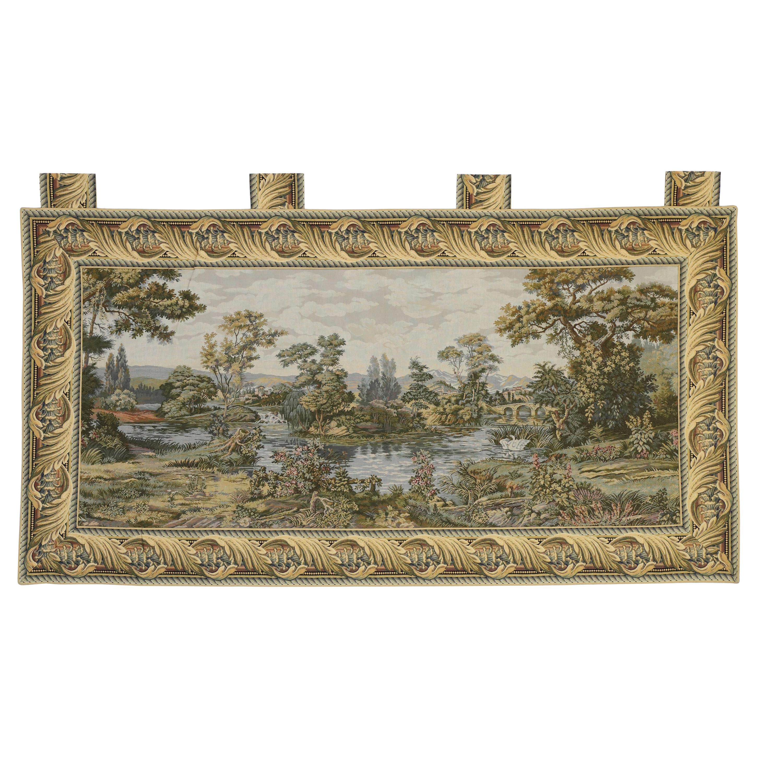 Vintage Italian Tapestry Swan in the Lake, Renaissance Style Wall Hanging