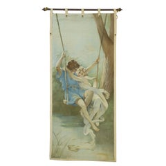 Antique French Rococo Style Tapestry, Springtime Inspired by Pierre-Auguste Cot