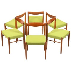 Set of Six Teak Dining Chairs by Henry W. Klein for Bramin, New Upholstery