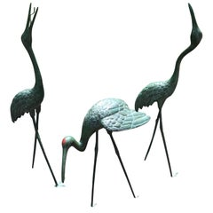 Japan Three Lg Hand Cast Bronze Cranes Beautiful Head and Feather Details, 40""