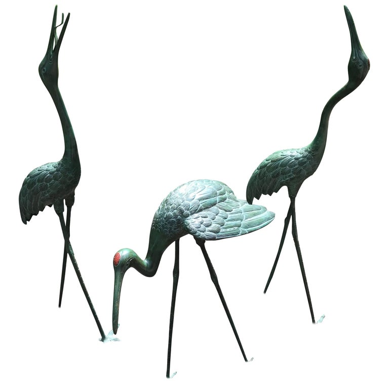 """Japan Three Lg Hand Cast Bronze Cranes Beautiful Head and Feather Details, 40"""""""
