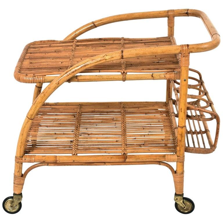 Vittorio Bonacina  Bamboo Rattan, servant Bar Cart  1950s, Trolley Vintage