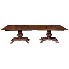 Monumental Pedestal Classical Mahogany Dining Room Table, Philadelphia