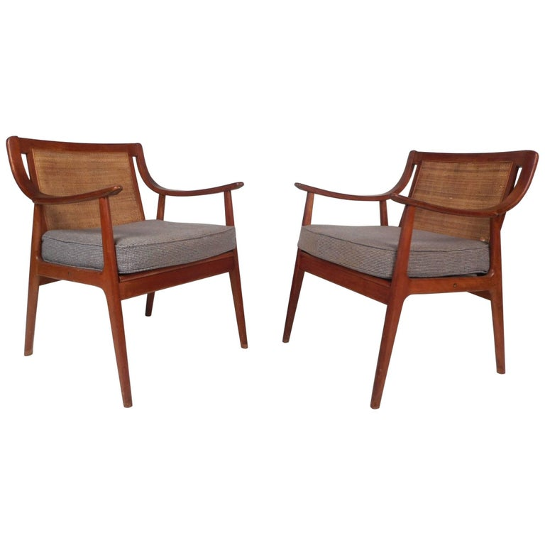 Mid-Century Modern Armchairs with Cane Back Rests