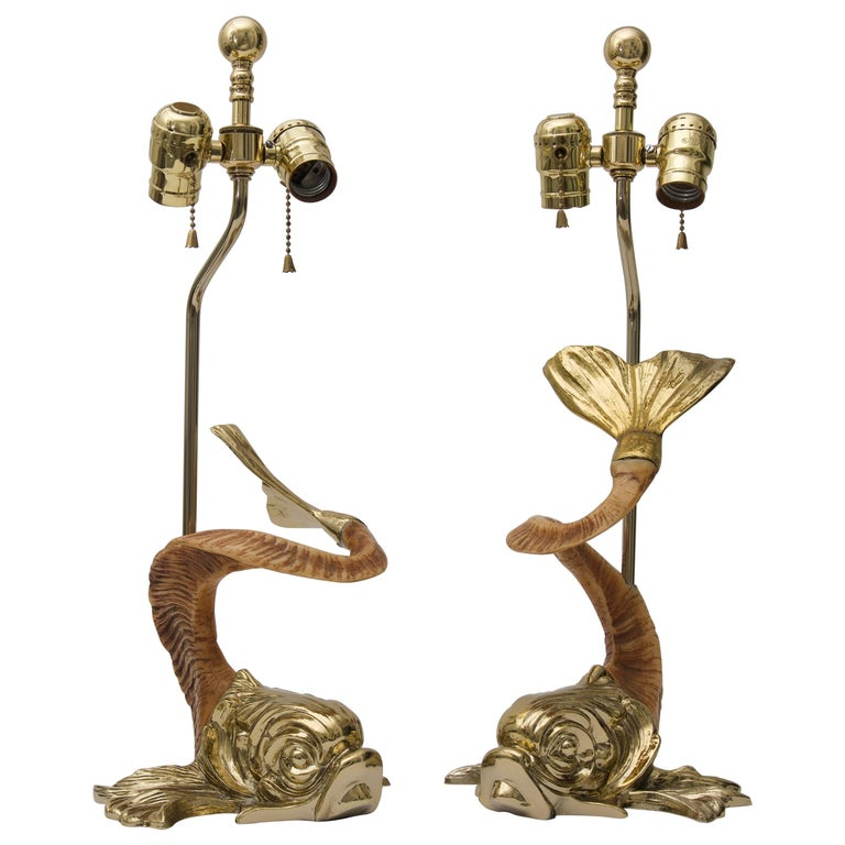 Pair of  Dolphin-Form Table Lamps