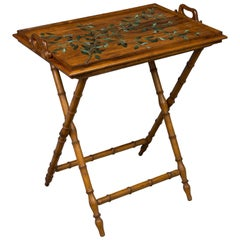French Faux Bamboo Folding Tray Table