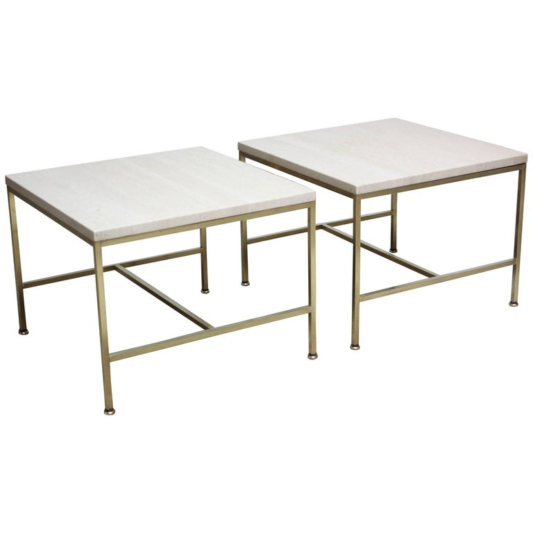 Paul McCobb Travertine and Brass Occasional Tables For Sale