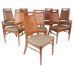 Set of Eight Mid-Century Modern Cane Back Dining Chairs