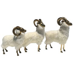 Brass Sheep Family Sculpture