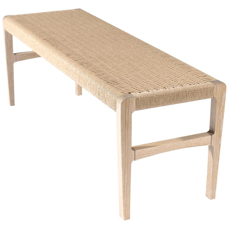 Giacomo Bench, Cerused Oak with Handwoven Danish Cord For Sale