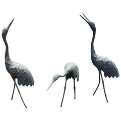 Japan Three Antique Hand Cast Bronze Cranes Beautiful Head & Feather Details, #2