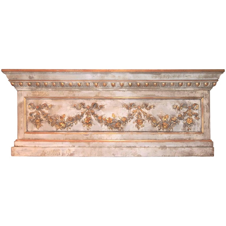 Louis XVI Neoclassical Style Paint and Giltwood Boiserie Overdoor Panel