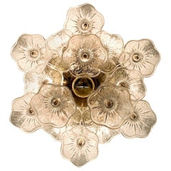Italian 1970s Brass and Glass Floral Ceiling Mount Light Fixture