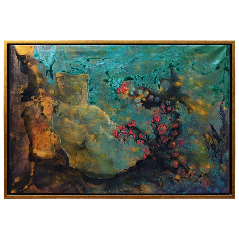 Stunning Modern Abstract Framed Original Painting by Zlata Hurtic