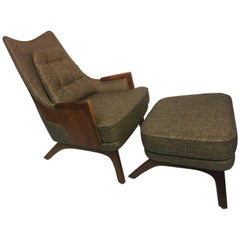 Mid-Century Modern Lounge Chair and Ottoman by Adrian Pearsall