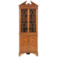 Inlaid Mahogany Corner Cabinet