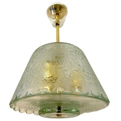 Italian 1940s Acid Etched Glass and Brass Pendant Light