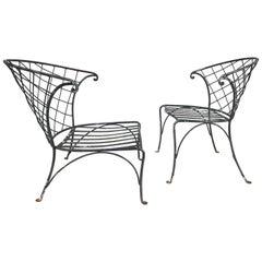 Elegant Pair of Salterini Wrought Iron Outdoor Patio Garden Chairs