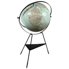 C.S. Hammond & Co. 1950s Inflatable Globe on Auböck Style Tripod Stand