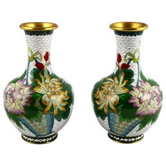 Pair of Mirrored Design White Cloisonné Vases Multicolored Floral and Butterfly