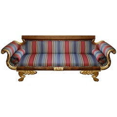 Parcel-Gilt Mahogany Regency Style Sofa in Striped Fabric