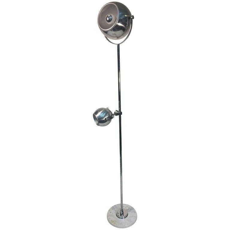 Reggiani Modern Double Chrome Ball Fixture Floor Lamp