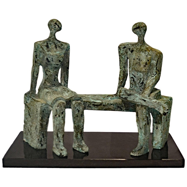 After Henry Moore, a Vintage Bronze Sculpture of Two Figures Seated on a Bench For Sale