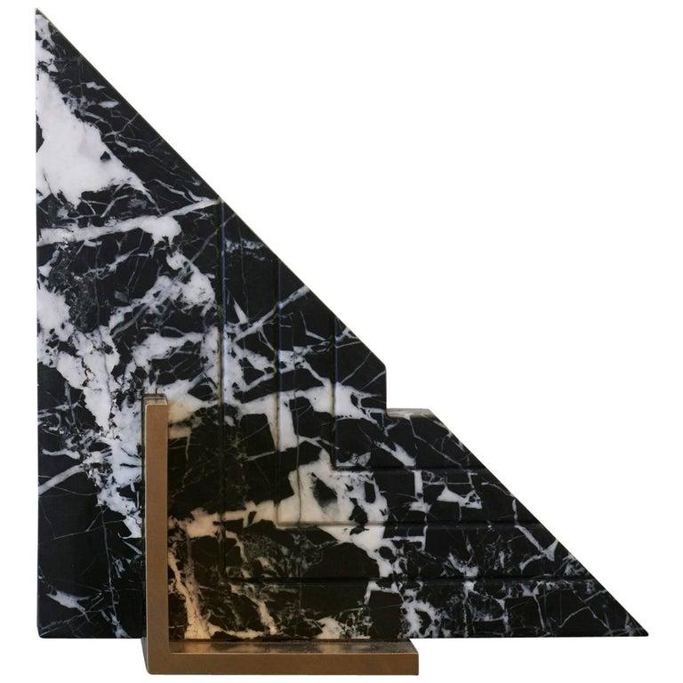 Trigono Bookend in Black Marble