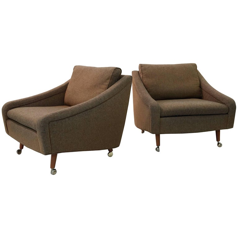 Pair of Milo Baughman for Thayer Coggin Upholstered Armchairs