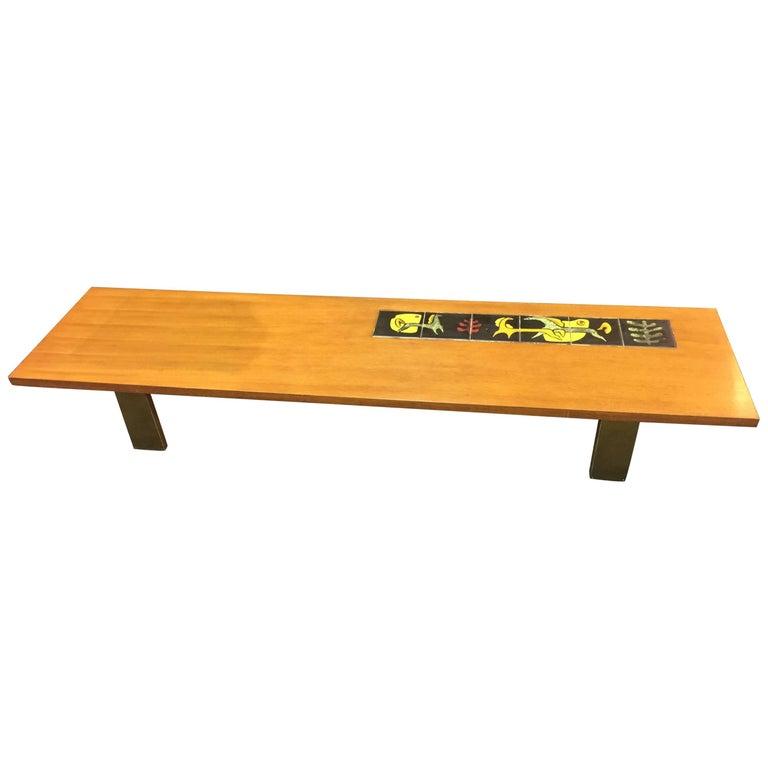 Mid-Century Modern Vladimir Kagan Tile and Wood Coffee Table
