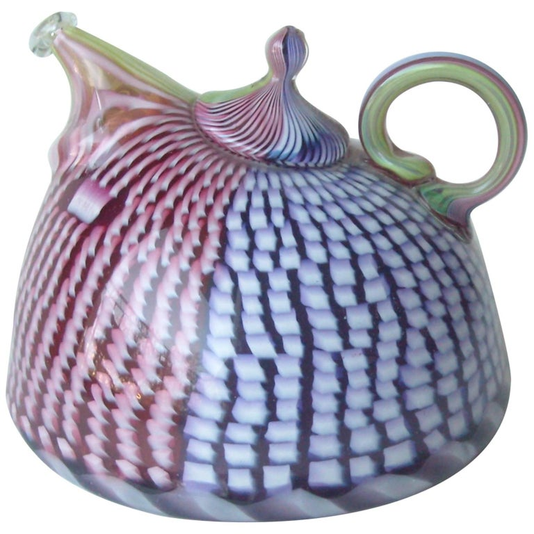 Richard Marquis Studio Teapot Glass Sculpture, Signed, Dated For Sale