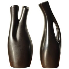 Swedish Black Glazed Ceramic Vases by Lillemor Mannerheim, Set of Two