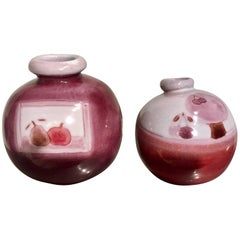 Set of Two Ball Vases, Fruits & Cherry Tree, Cloutier Freres, France, circa 1960