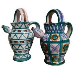 "Set of Two Ceramic Pitchers ""Gargoulette"", Robert Picault, France, circa 1950"